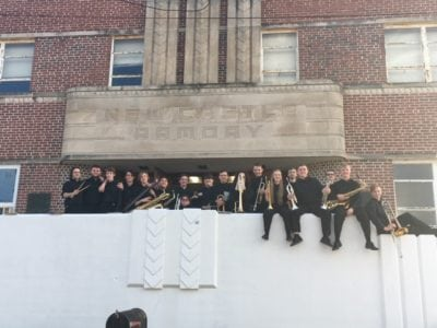 Band Students in front of New Castle Armory